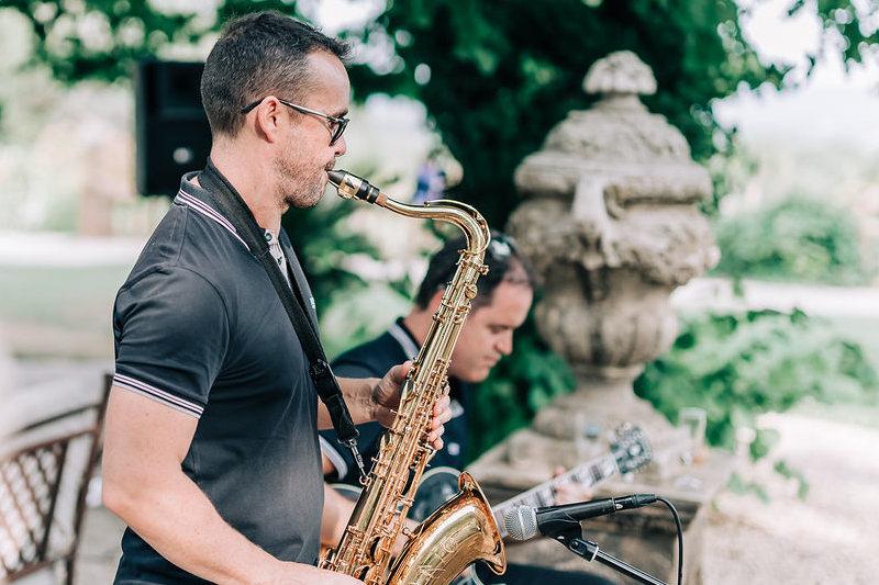 Duo Jazz en prestation lors d'un Cocktail de mariage dans le Var